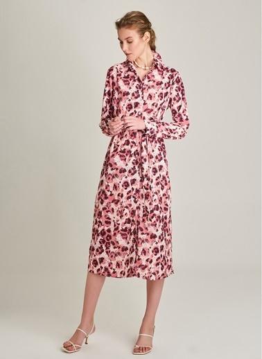 NGSTYLE Desenli Gömlek Elbise Pembe